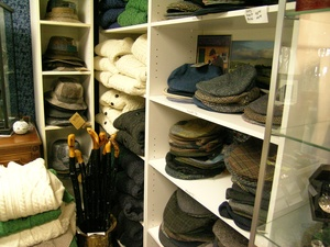 Display of hats, umbrellas